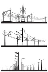 Electrical installations set - vector illustration