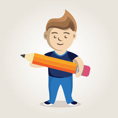 character man with a pencil in hand