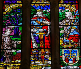 King Fruela I of Asturias - stained glass in Oviedo cathedral