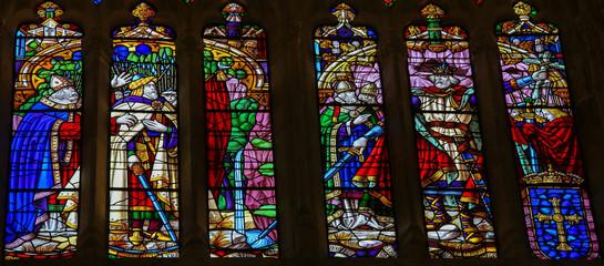 Pelagius, Spanish national hero - stained glass in Oviedo