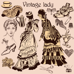Collection of old-fashioned woman and accessories