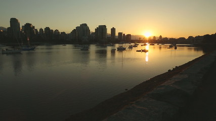 dolly shot Sunrise, False Creek, Vancouver