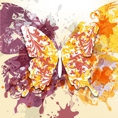 Grunge art background with butterfly made from swirls and ink sp