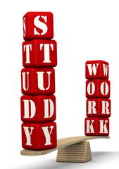 Работа или учёба. Сравнение на весах