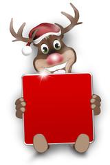CHristmas Look Happy Reindeer red blank board