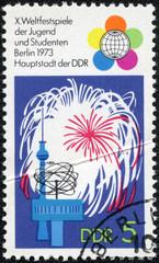 Festival Emblem, Fireworks, TV Tower, World Clock