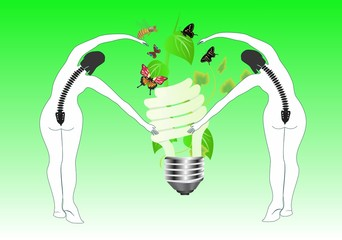 Ecology conceptual image 2 woman silhouettes with lamp