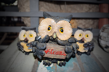 Owl hold welcome banner.