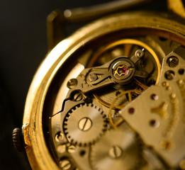 Extreme macro shot of watch mechanism