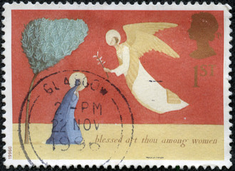 stamp shows Christmas scenery The Annunciation