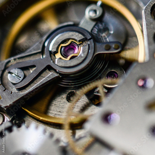 canvas print picture Extreme macro shot of watch mechanism