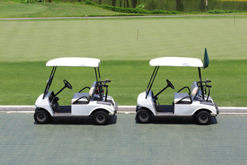 golf car in green golf course