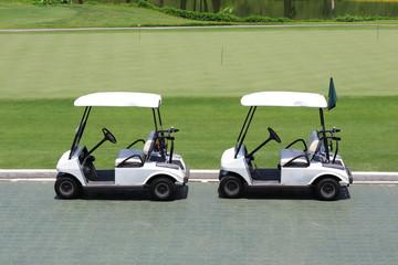 golf car in green golf course