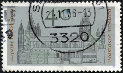 stamp printed in the Germany shows Cathedral of Mainz