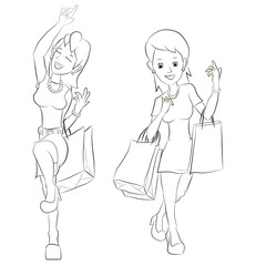 Girl shopping with  shopping bag
