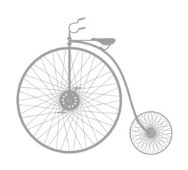 Silhouette of vintage bicycle in grey design