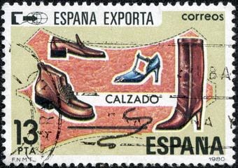 stamp printed by Spain, shows Exports, Shoes