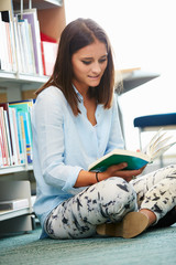 Female College Student Studying In Library
