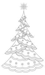 Christmas tree with snowflakes, contours