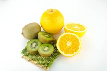 kiwi and orange fruit isolated on white background