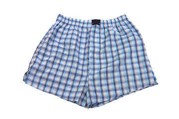 Plaid multicolored men's briefs (boxers) on a white background