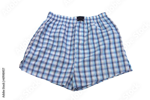 Plaid multicolored men's briefs (boxers) on a white background - 69148457