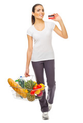 Young girl with food basket and credit card