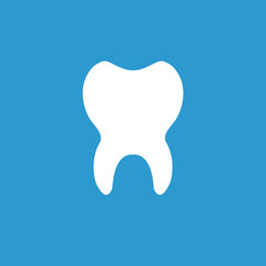tooth icon, white on the blue background .