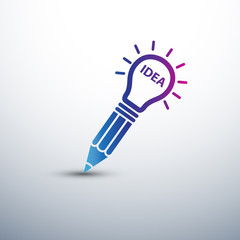 Creative Idea concept with pencil and  light bulb icon ,vector i