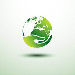 Green earth concept with hand,vector illustration
