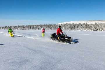Snowmobile in the forest