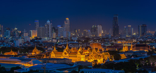 Grand palace at twilight in Bangkok