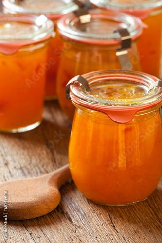 canvas print picture Hausgemachte Marmelade aus Melonen im Glas
