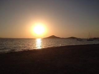 Sunset at the beach in La Manga del Mar Menor, Murcia, Spain