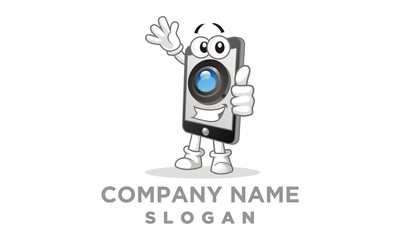 Camera Smartphone Cartoon Character logo