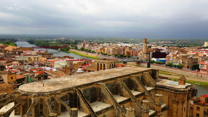 Tortosa with Cathedral from Suda castle. Catalonia, Spain