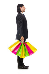 Man with shopping bags isolated on white