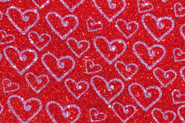 red glitter with heart texture background