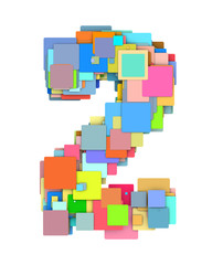 3d number two 2 fragmented tiled on white in multiple color