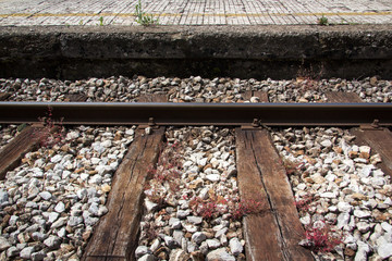 Train track with platform and red grass on them