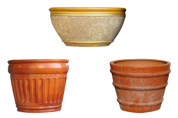 Plant pots isolated on white background,