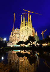 Sagrada Familia in night  in Barcelona