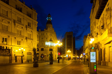 Commercial street in night. Castellon de la Plana
