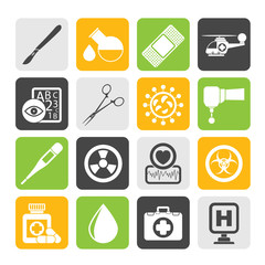 Silhouette Medicine and hospital equipment icons