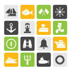 Silhouette Marine, sea and nautical icons