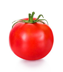 Red tomato on an isolated white background