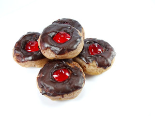 mini doughnuts with Chocolate on White Background