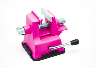 Magenta Plastic Bench Vise with Suction Cup
