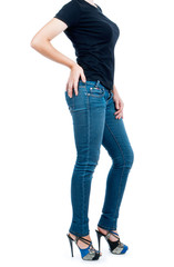 girl in a black T-shirt and jeans on isolated background
