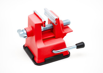 Red Plastic Bench Vise with Suction Cup